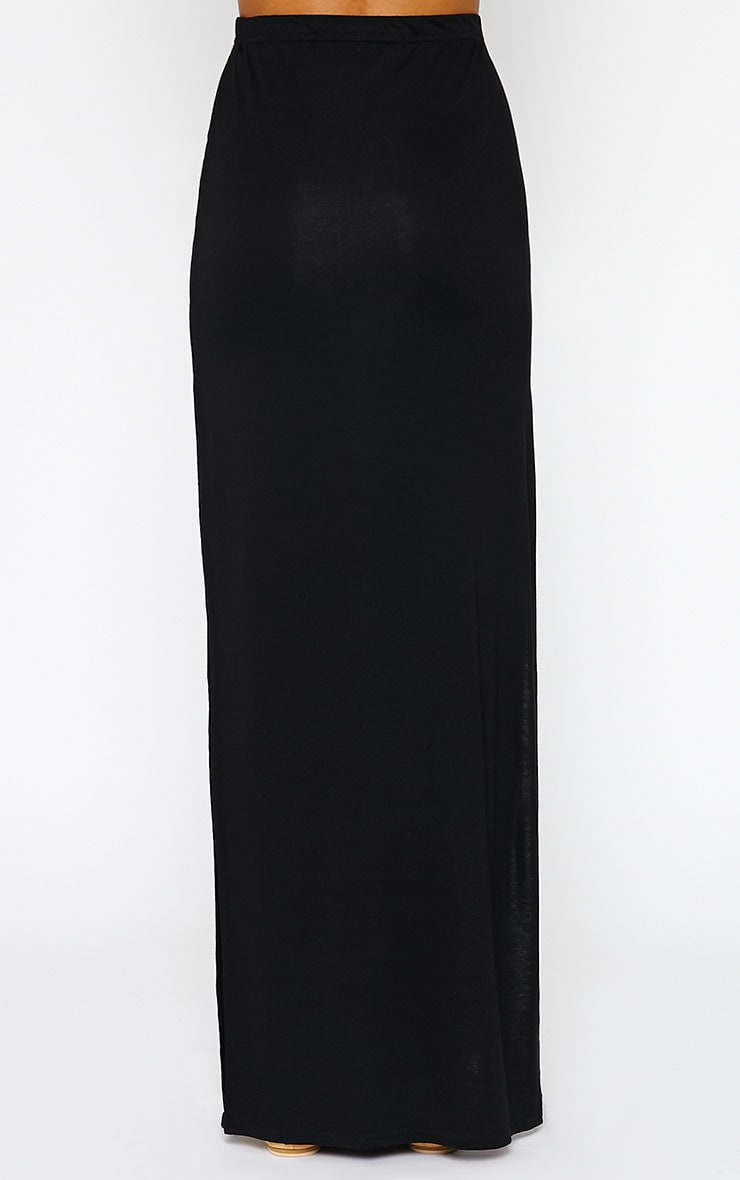 Kayley Black Split Jersey Maxi Skirt 4
