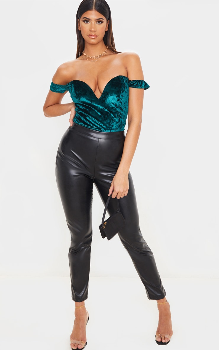 Emerald Green Crushed Velvet V Wire Bardot Bodysuit 4