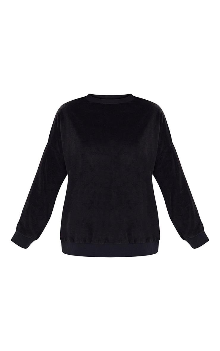 Black Velour Side Stripe Sweater 3