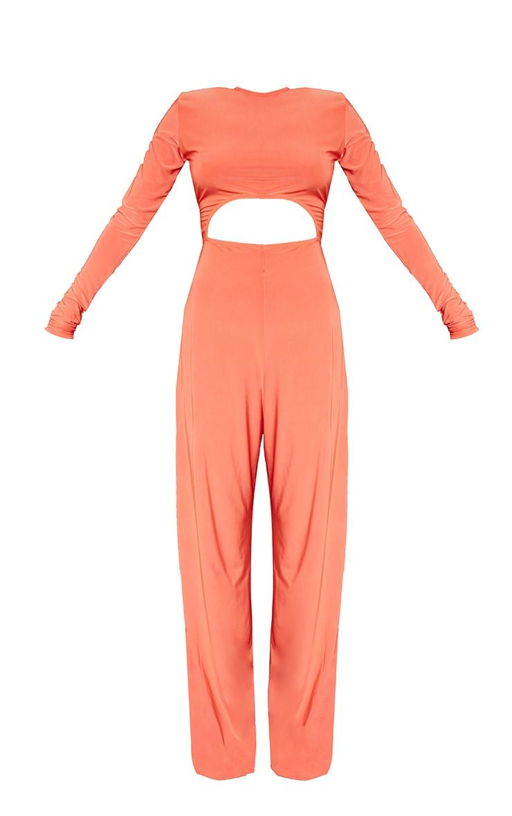 Petite Orange Cut Out Long Sleeve Wide Leg Jumpsuit 5