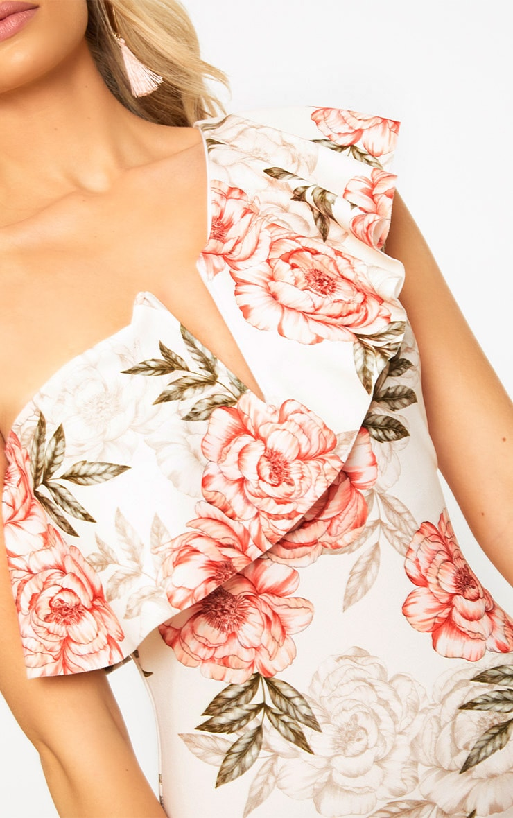 Pink Floral One Shoulder Ruffle Midi Dress 5