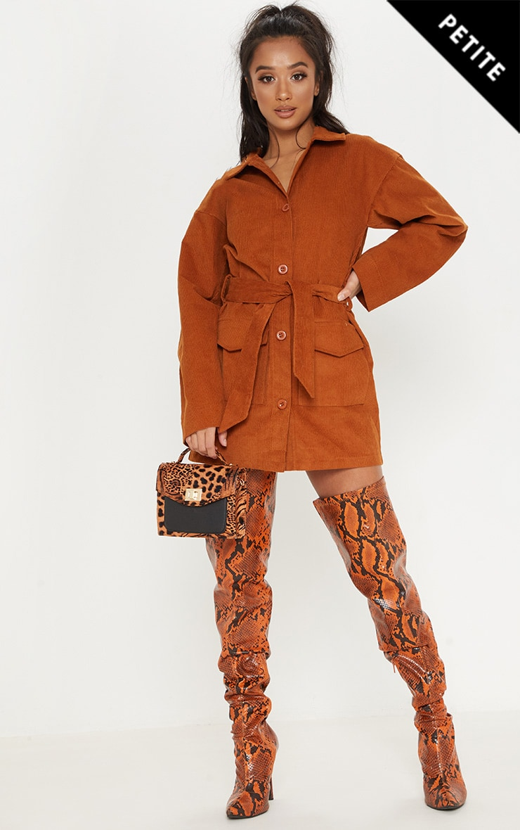 Petite Rust Cord Button Front Belted Shirt Dress