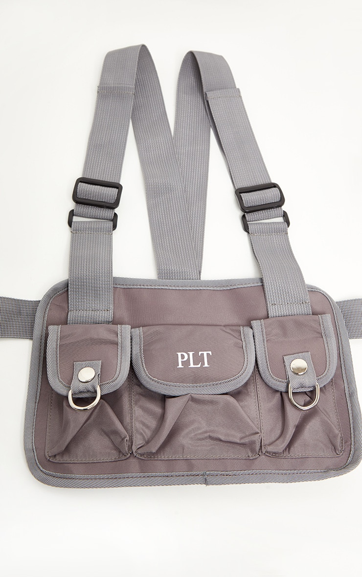 PRETTYLITTLETHING Grey Nylon Vest Bag 2
