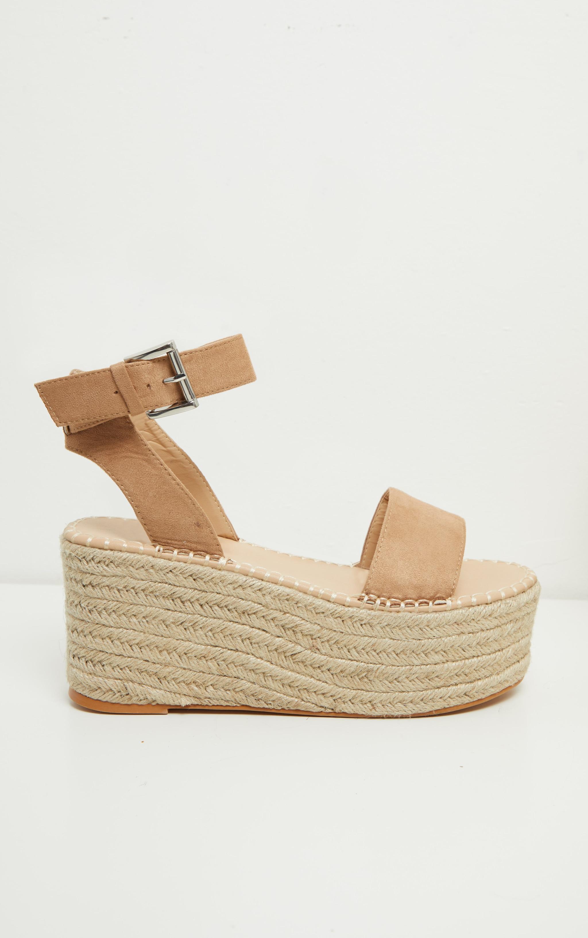 Tan Buckle Ankle Strap Flatform Espadrille Sandal 3