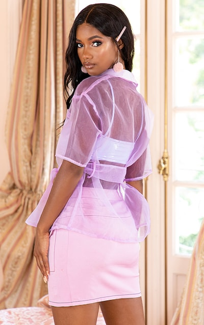Lilac Sheer Short Sleeve Tie Detail Shirt