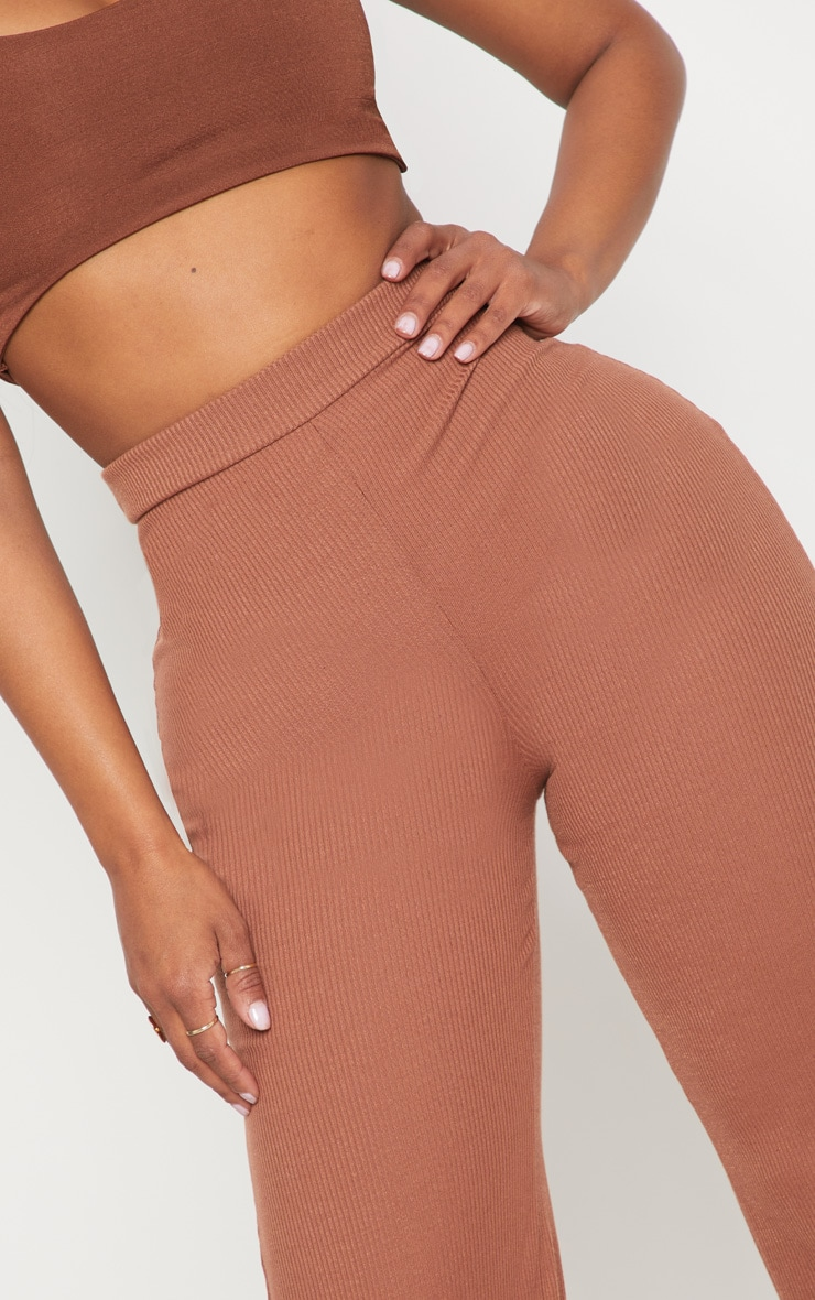 Shape Chocolate Ribbed Wide Leg Trousers 5