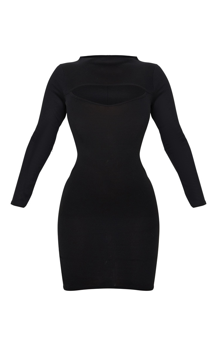Black Cut Out Neck Long Sleeve Midi Dress 3
