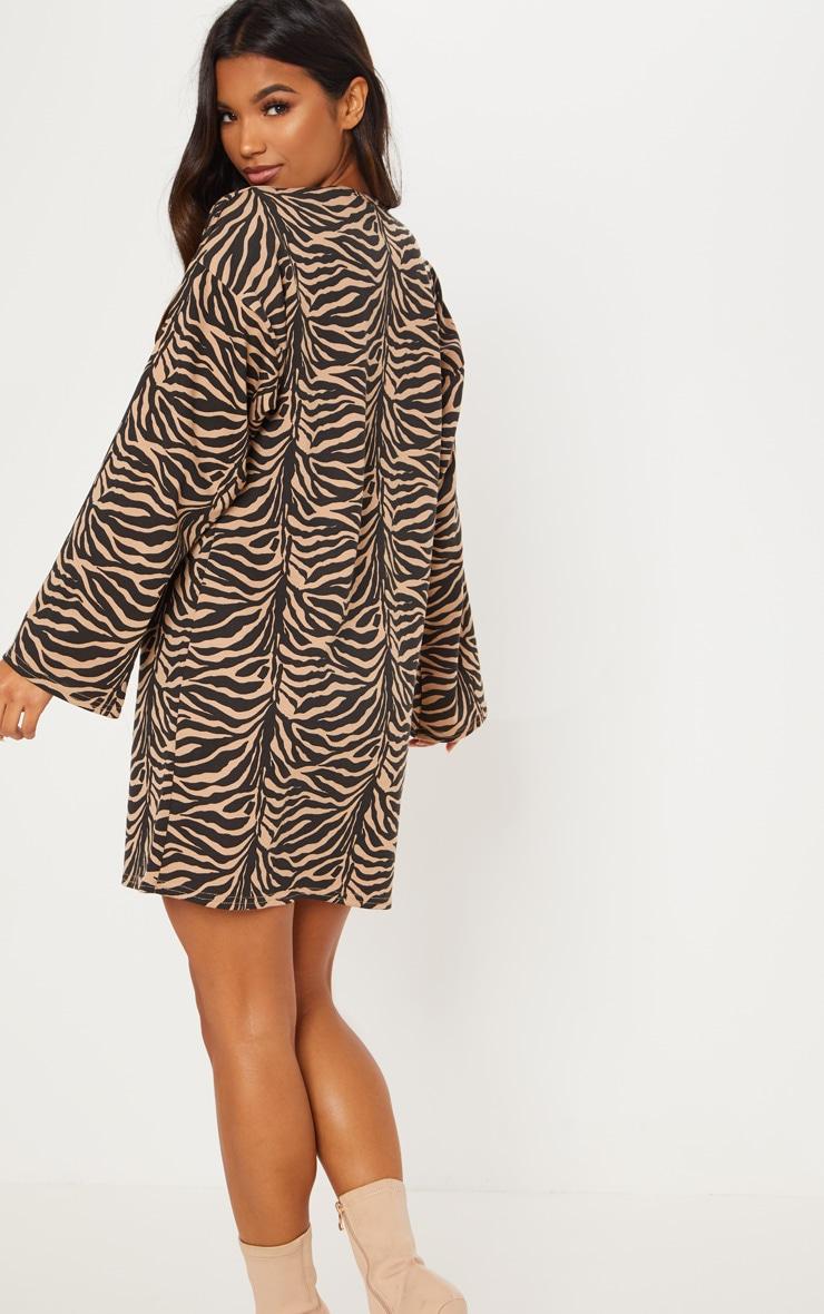 Beige Tiger Print Oversized Ponte Jumper Dress 2