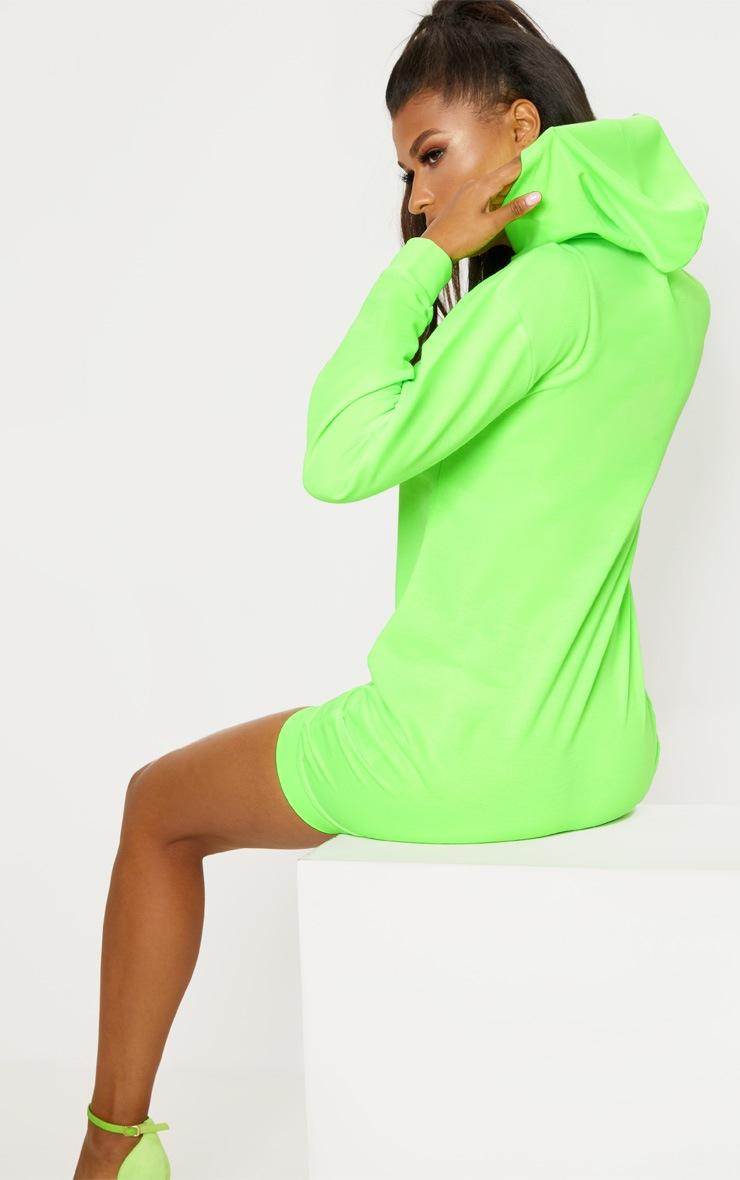 Neon Green Graffiti Slogan Oversized Hoodie Jumper Dress 2