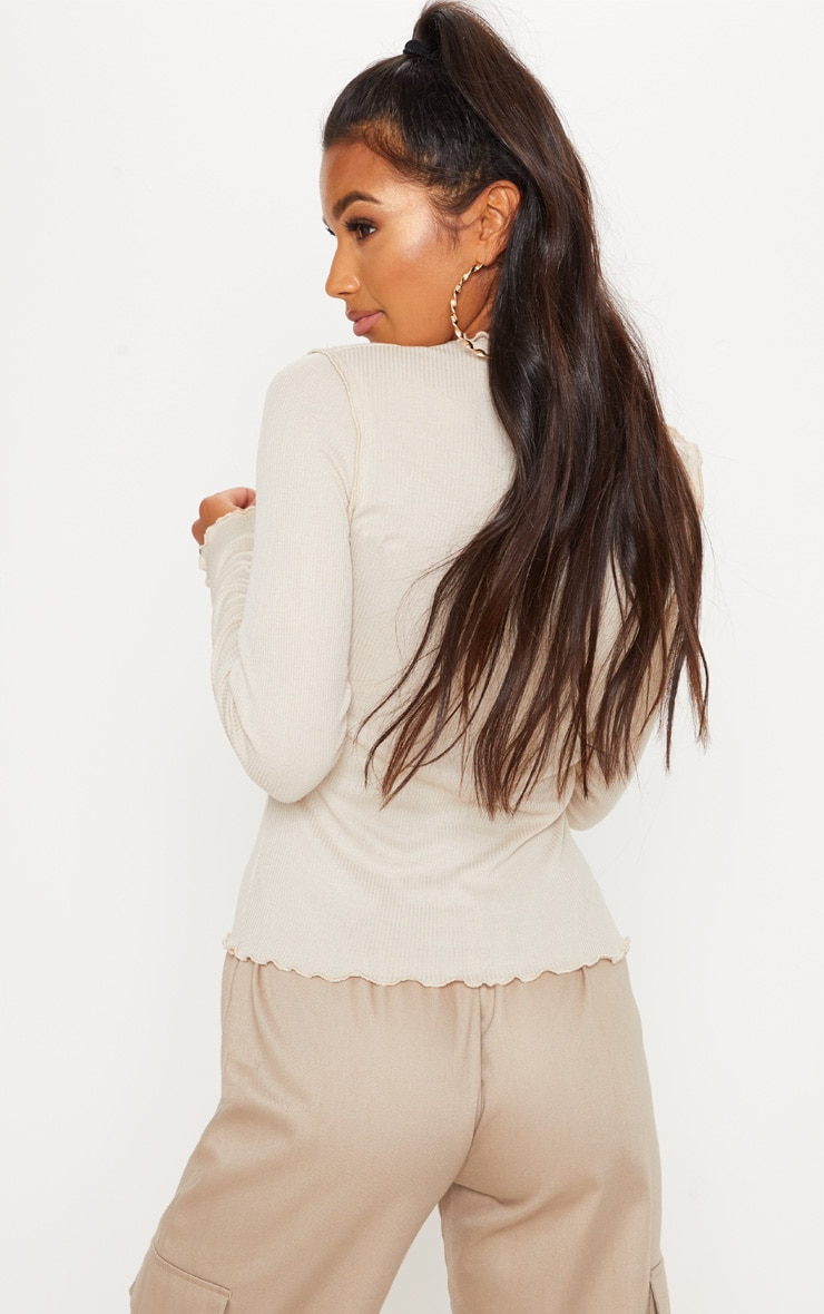 Stone Frill Rib High Neck Long Sleeve Top 2