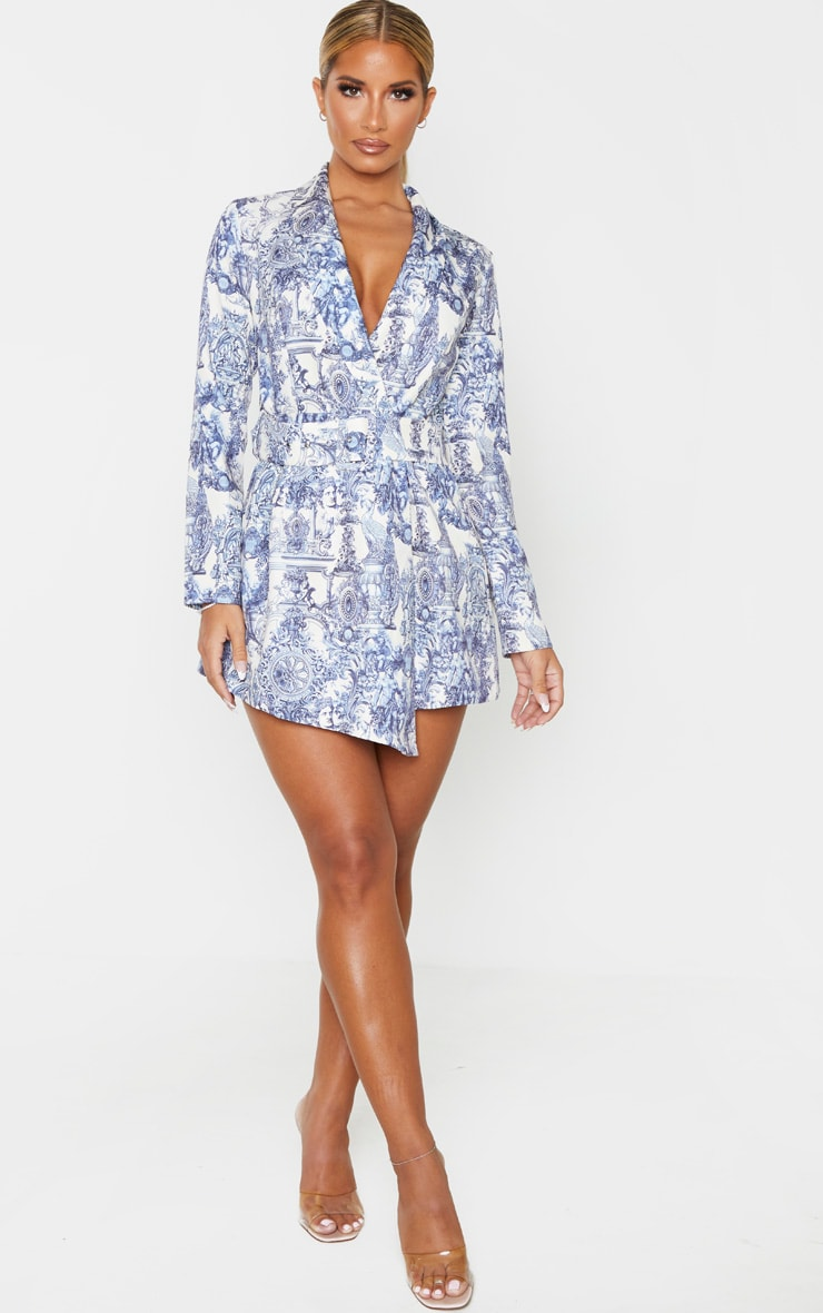 Multi Renaissance Print Long Sleeve Tailored Belted Romper 4