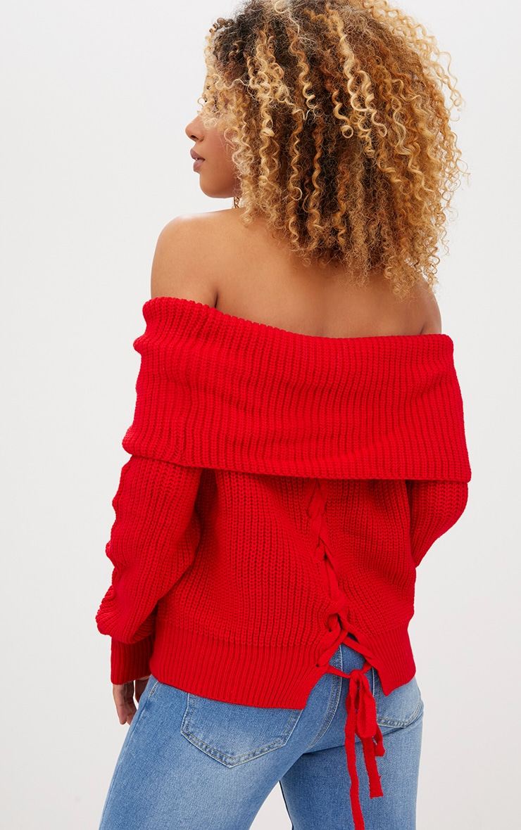 Red Bardot Tie Back Jumper 2