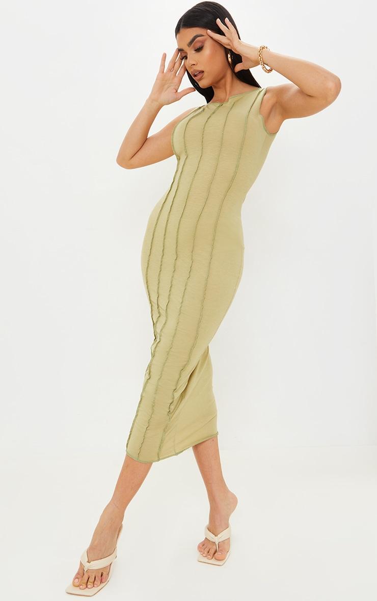 Olive Cotton Sleeveless Overlock Stitch Detail Midi Dress 3