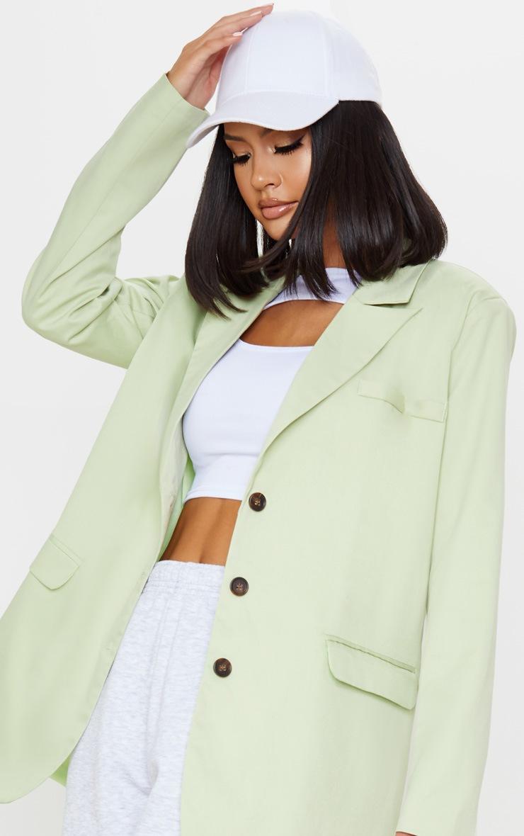 Pale Green Oversized Woven Blazer 5