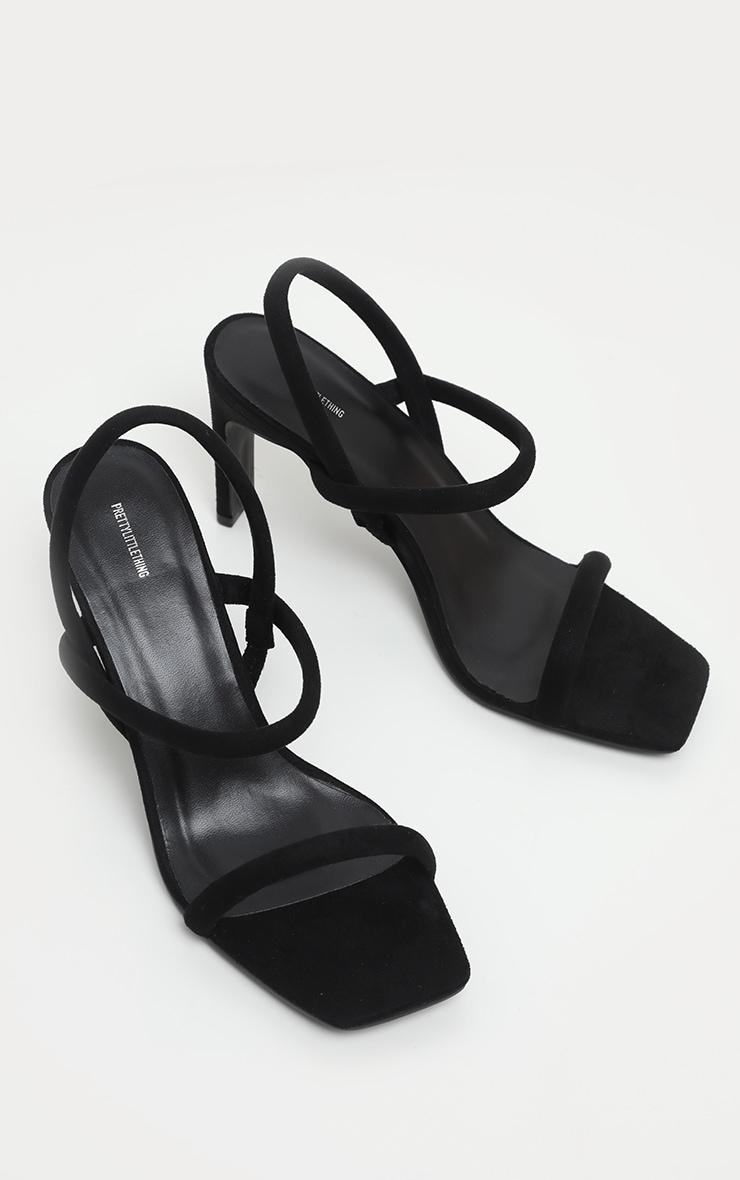 Black Tube Strappy Square Toe Sandal 3