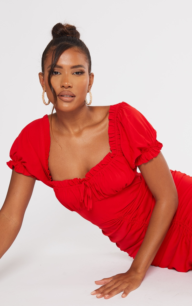 Red Broderie Anglaise Ruched Centre Bardot Midi Dress 4