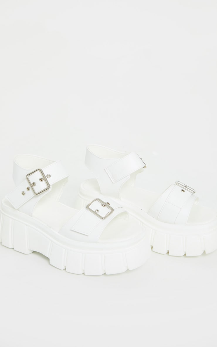 White Chunky Sole Buckle Detail Sandal 4