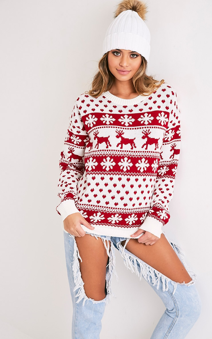 Snowflake/Reindeer White Mix Christmas Jumper 1