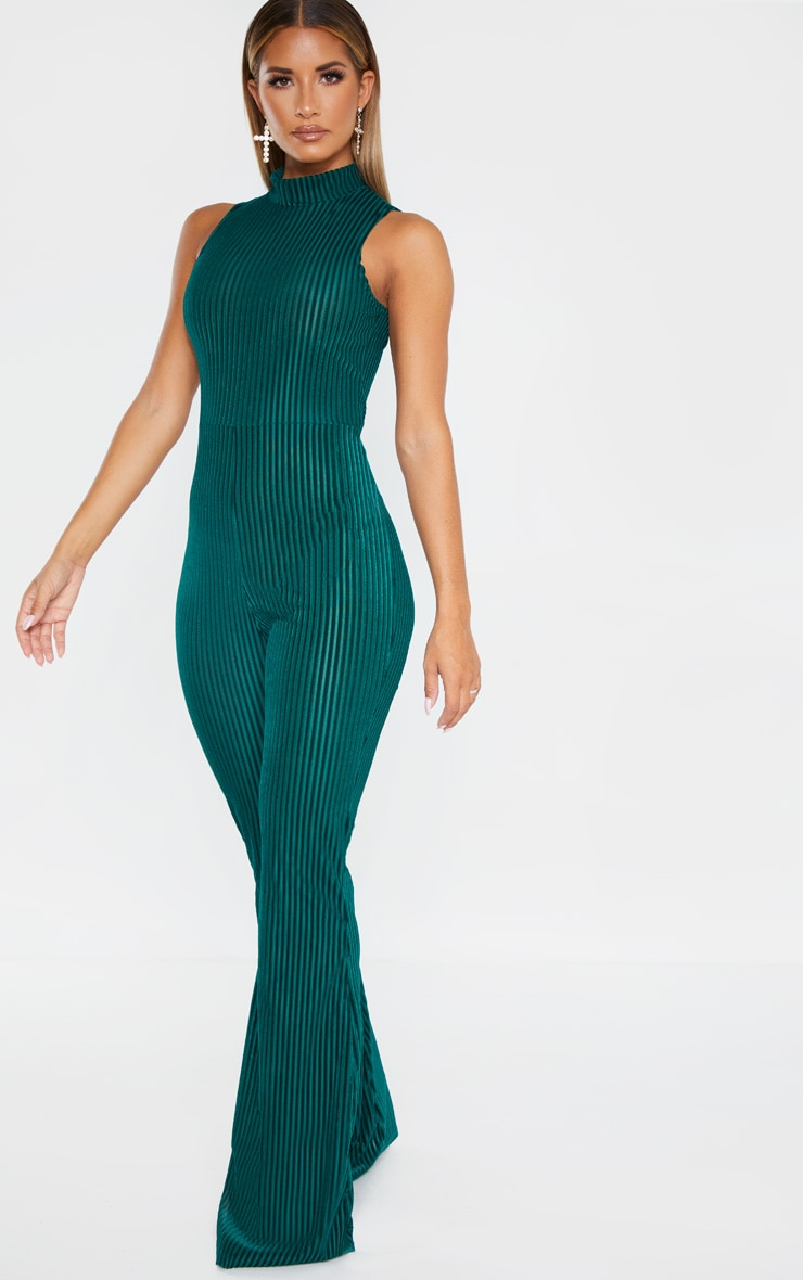 Emerald Green High Neck Striped Velvet Jumpsuit 4