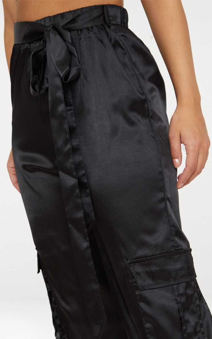 Petite Black Satin Cargo Pants 5