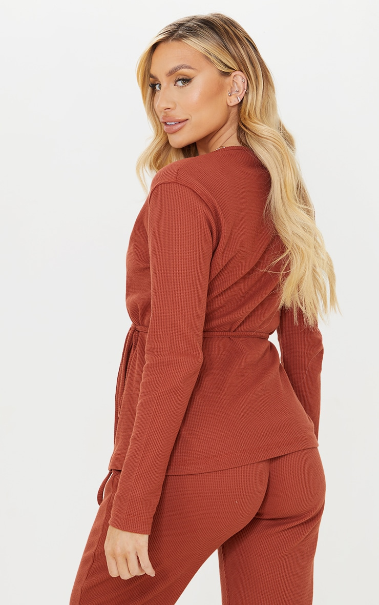 Maternity Rust Waffle Wrap Over Top 2