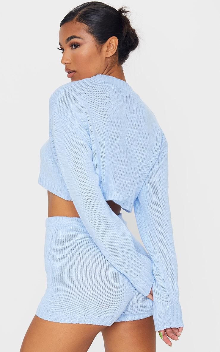 Baby Blue Deep Hem Knitted Jumper And Short Set 2