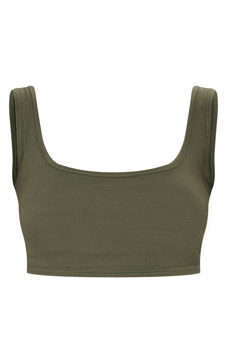 Basic Khaki Scoop Neck Crop Top 5
