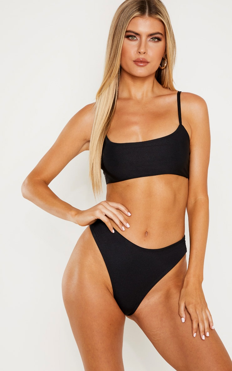 Official Website many choices of authorized site Tall Black Strappy Bikini Top
