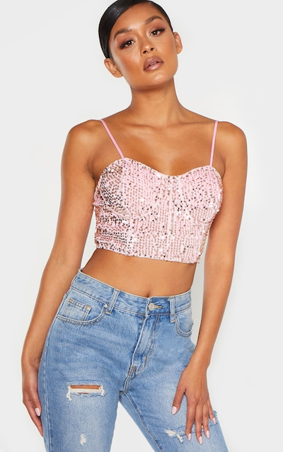 Light Pink Velvet Sequin Crop Top