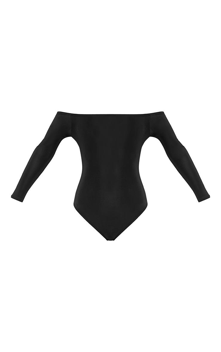 Petite Ashlynn Black Slinky Bardot Bodysuit 3