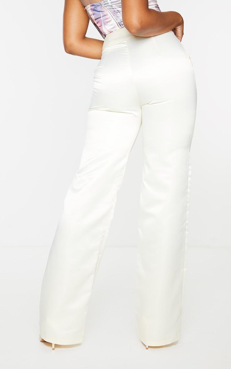 Cream Satin Buckle Detail Wide Leg Trousers 3