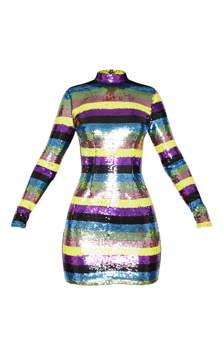 Multi Sequin High Neck Long Sleeve Bodycon Dress 3