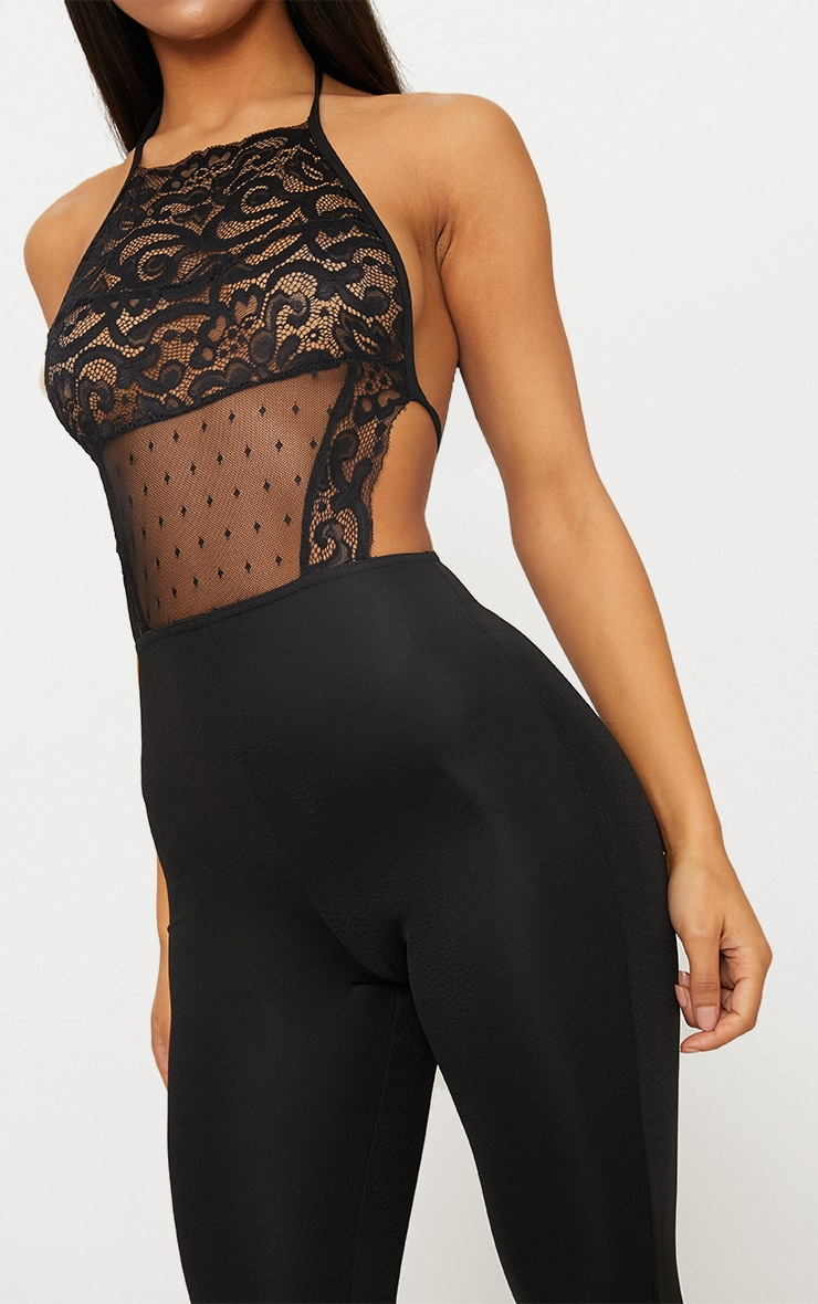 Black Lace Halterneck Jumpsuit 4