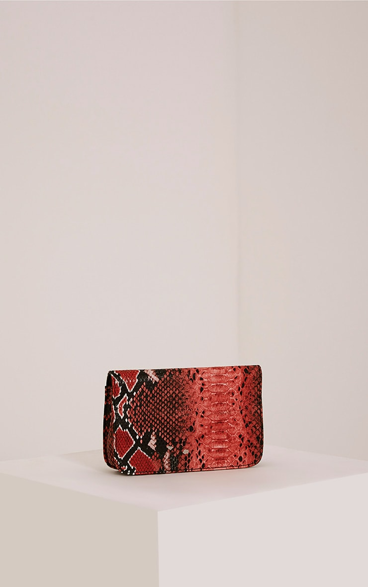 Harriet Red Snake Print Shoulder Bag 3