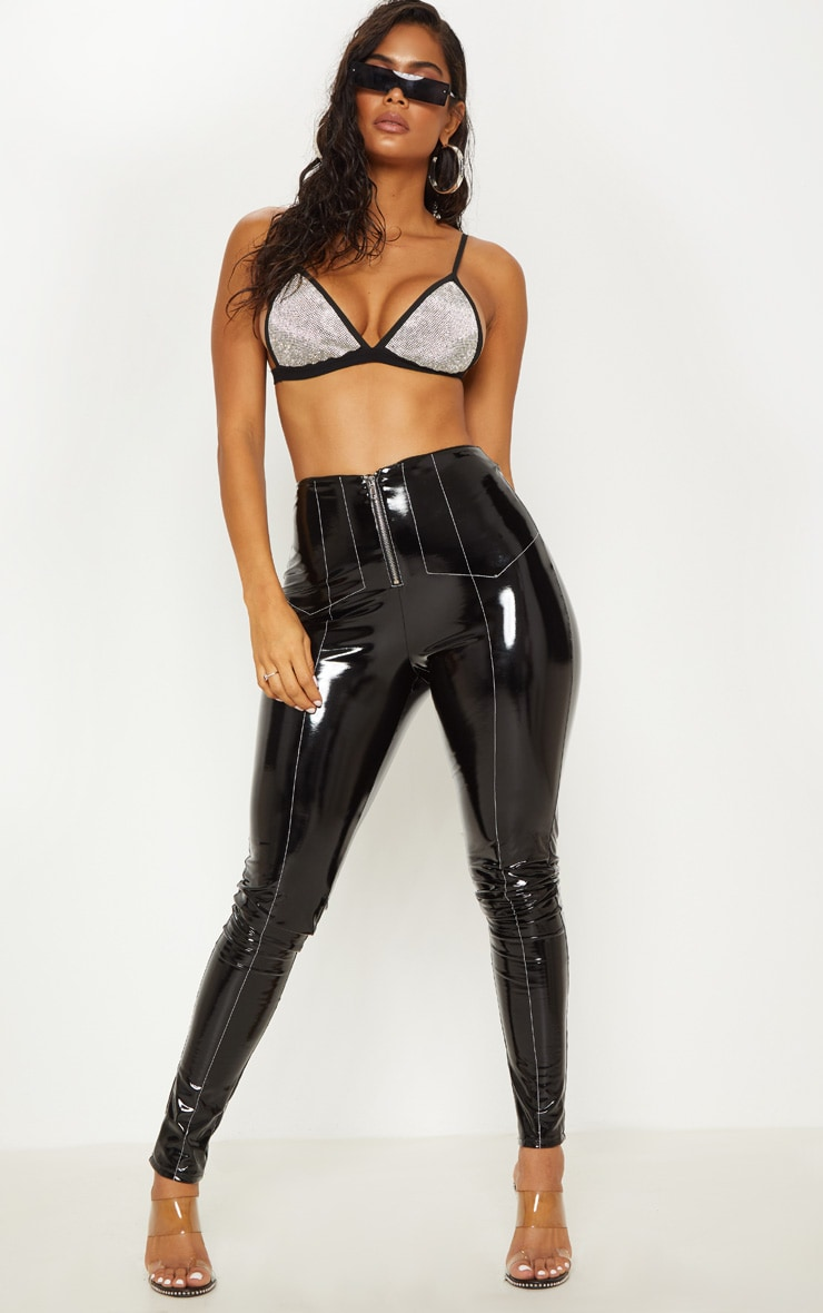 Black Contrast Stitch Vinyl Pants 1