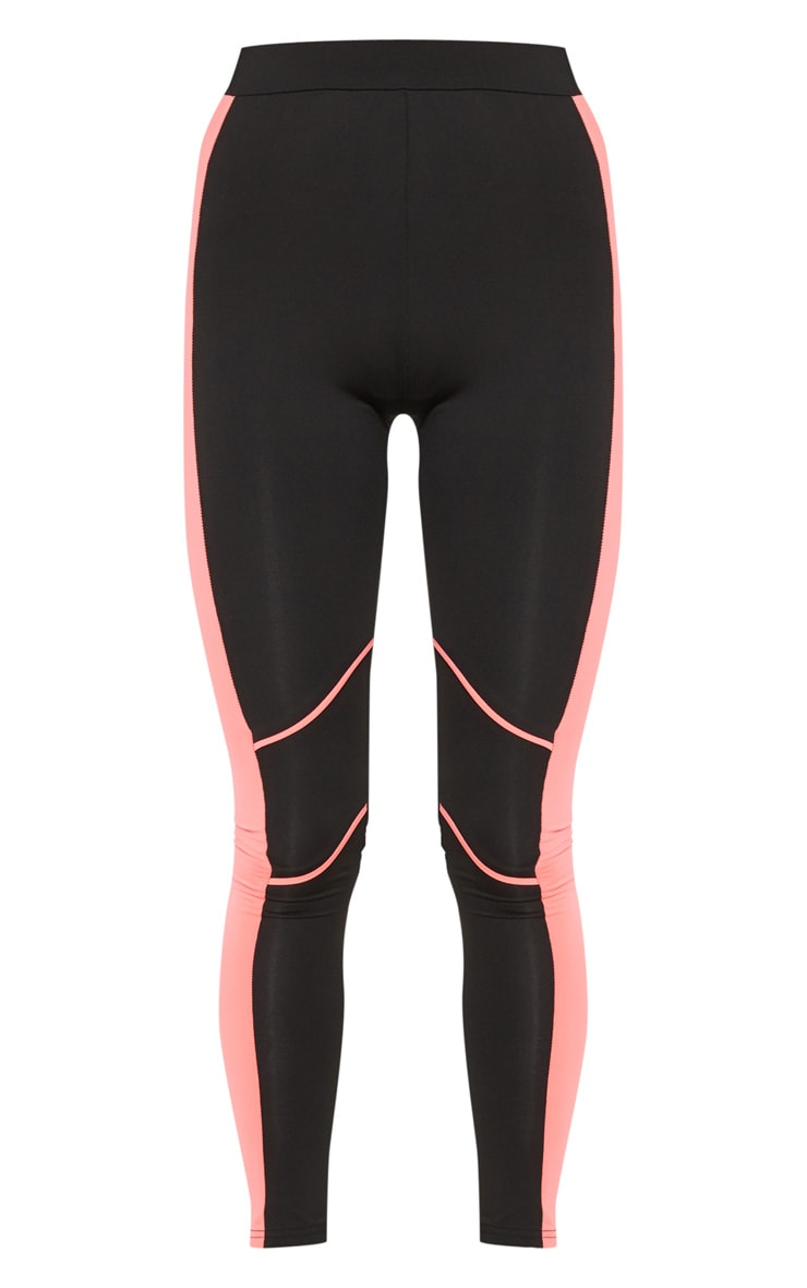 Black Knee Contrast Piping Gym Legging 3