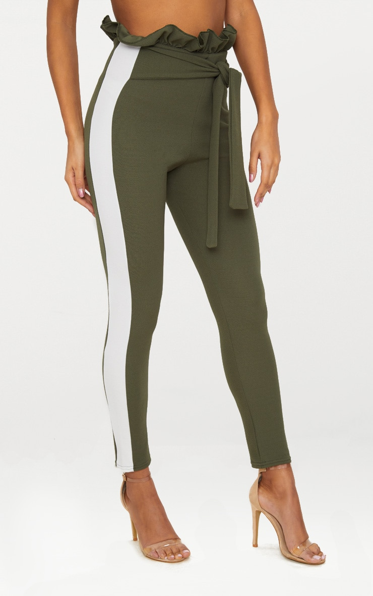 Khaki Side Stripe Paperbag Skinny Trousers 2