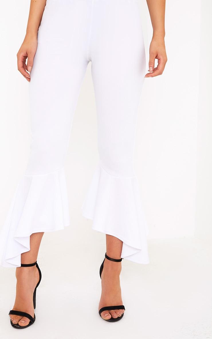 Lourdes White Asymmetric Flare Hem Trousers 5
