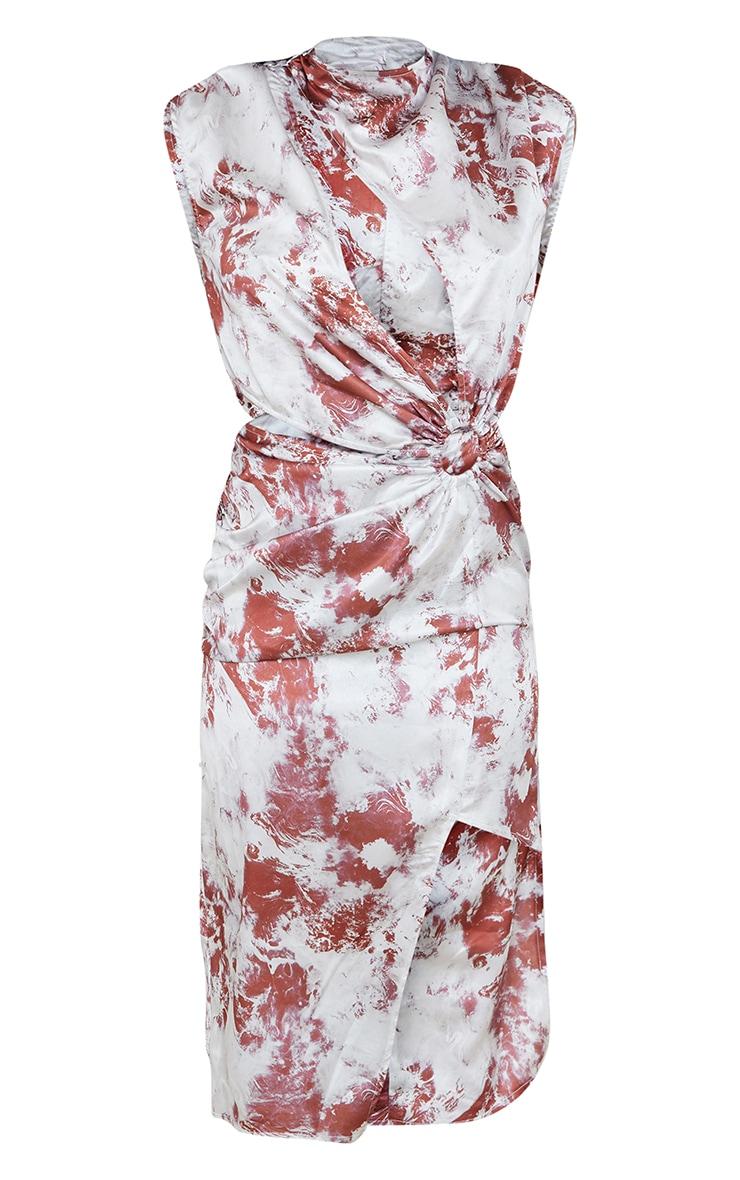 Multi Tie Dye Satin Ring Detail Cut Out Midi Dress 5