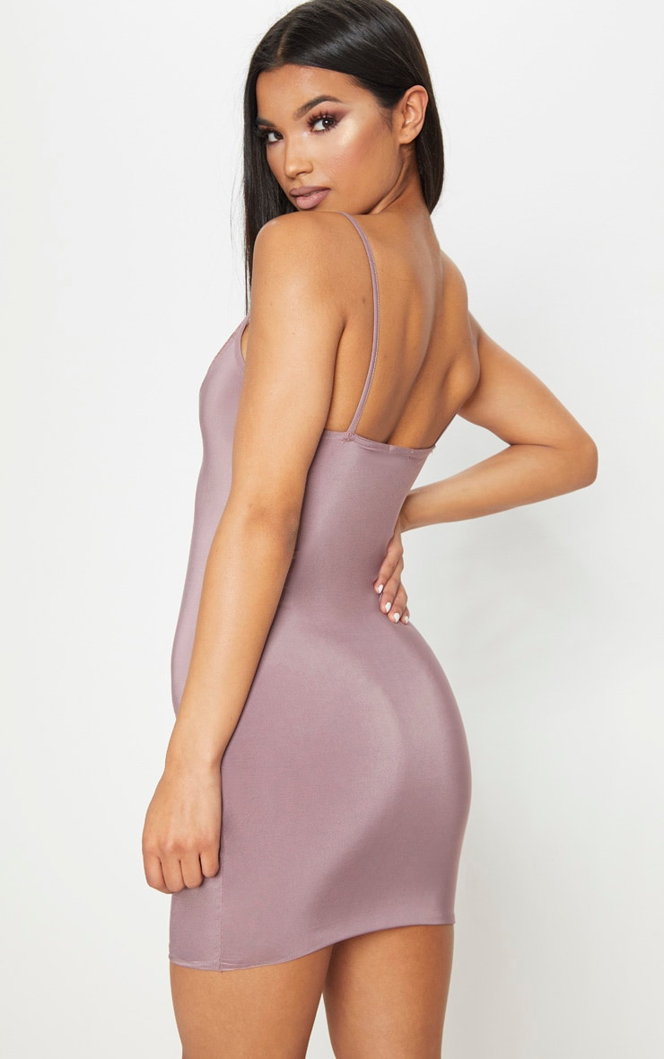 Mauve Strappy Lace Insert Bodycon Dress 2