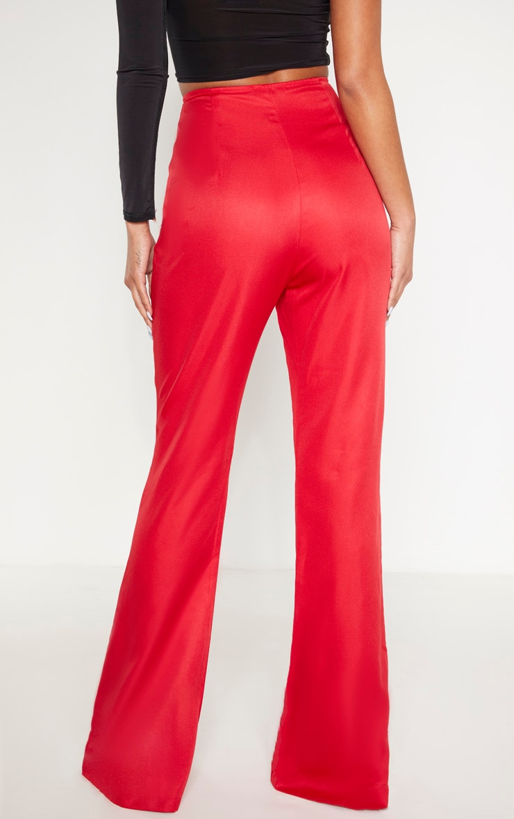 Red Button Detail Wide Leg Trouser 3