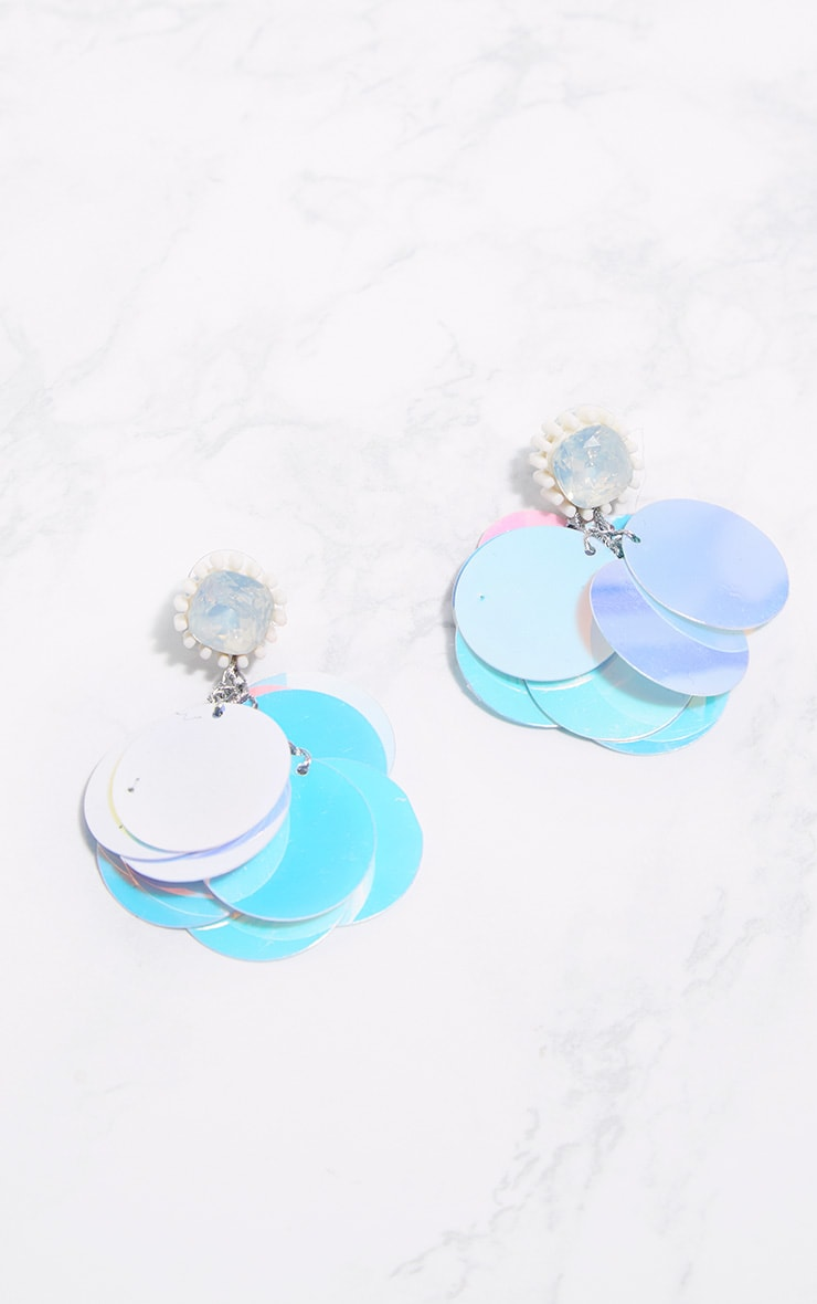 Holographic Statement Sequin Drop Earrings 3