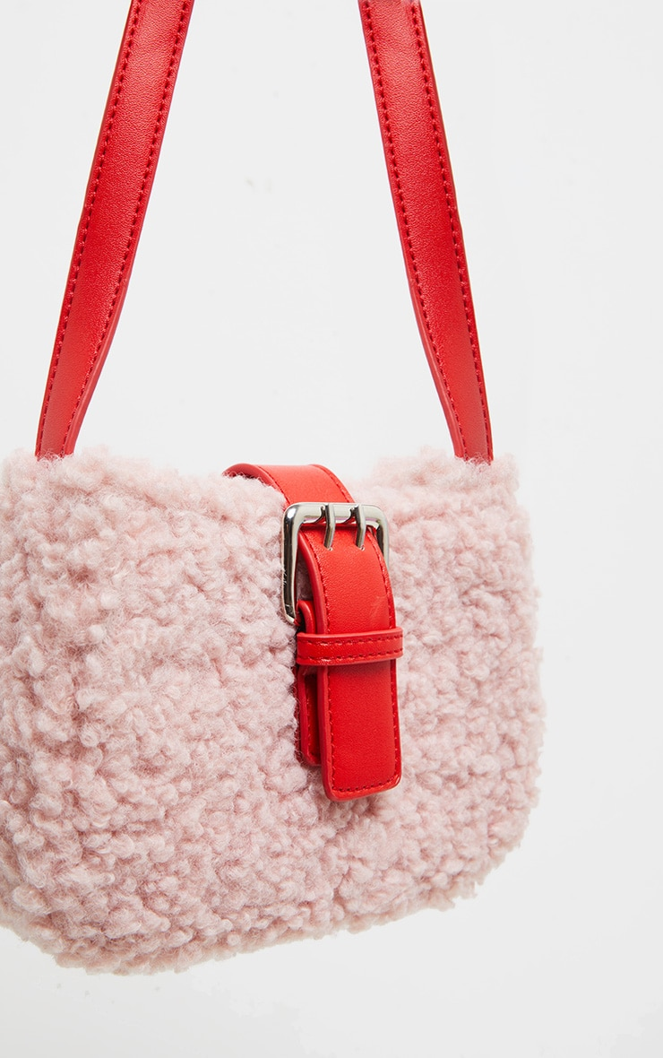 Pink Teddy Fur Red Buckle Shoulder Bag 2