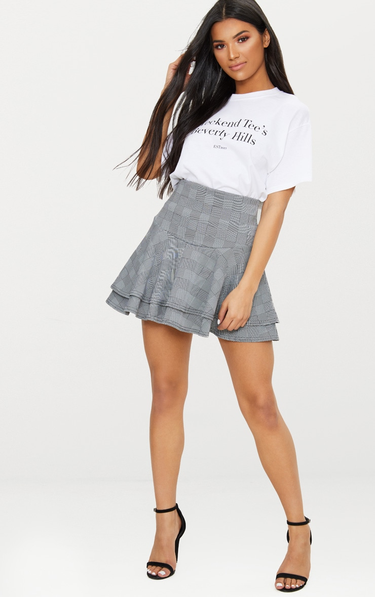 Grey Check Print Double Frill Hem Stripe Skirt 5