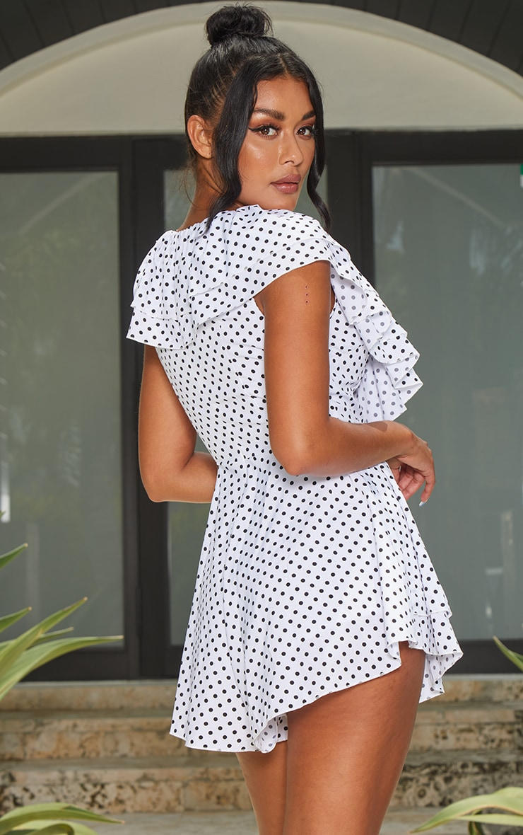 White Polka Dot Frill Plunge Playsuit 2