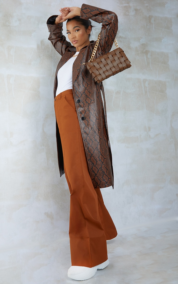 Chocolate Snake PU Belted Trench Coat 3