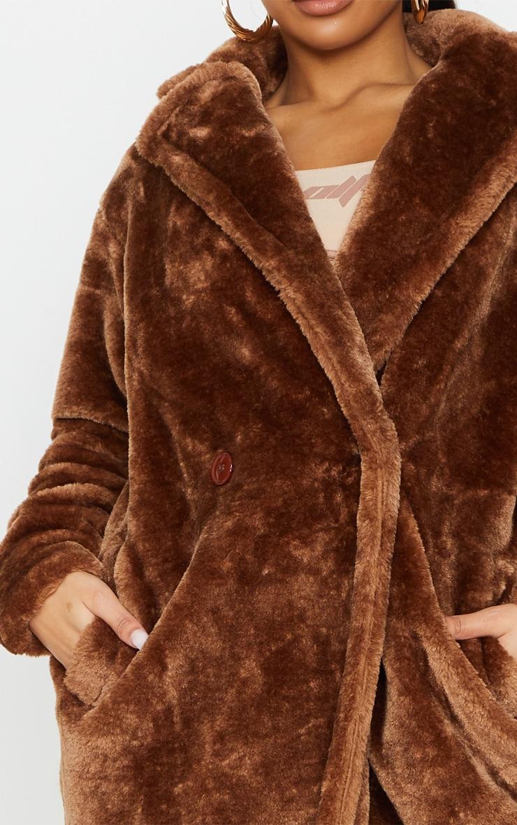 Brown Large Lapel Midaxi Faux Fur Coat 4