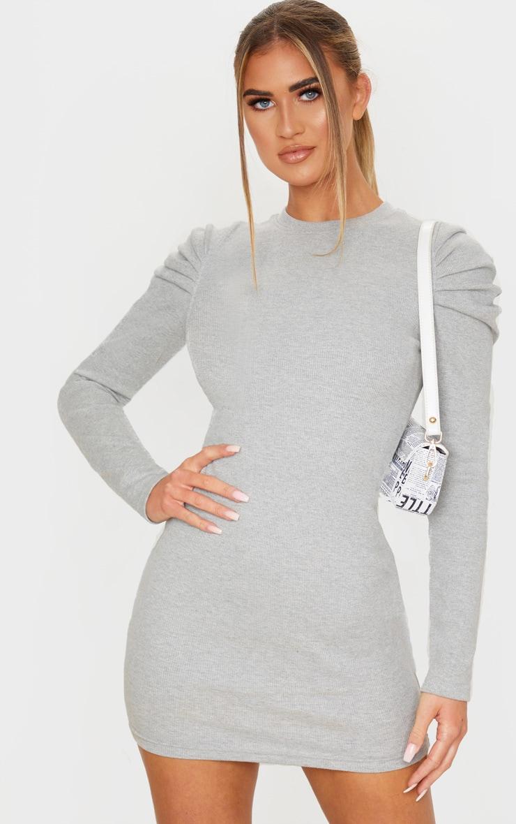 Grey Puff Sleeve Rib Knit Bodycon Dress 1