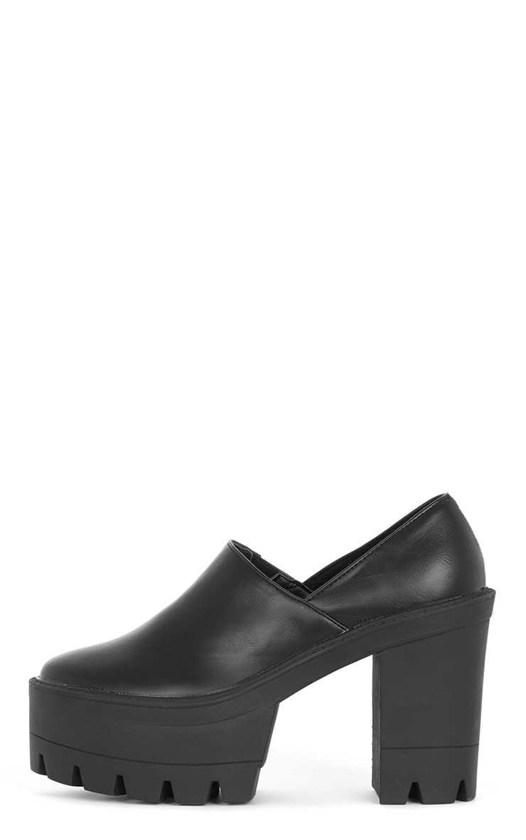 Blair Black Slip on Chunky Shoe  1