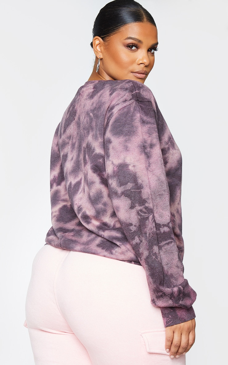 Plus Mauve Tie Dye Oversized Jumper 2